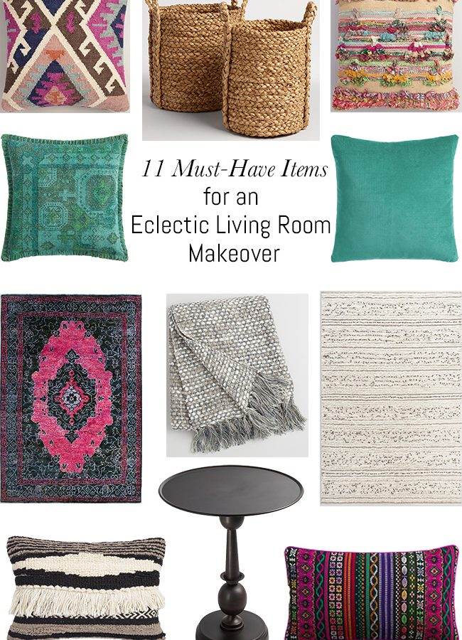 11 Must-Have Items for an Eclectic Living Room Makeover. Loving all of these items from the World Market Nomad Collection!