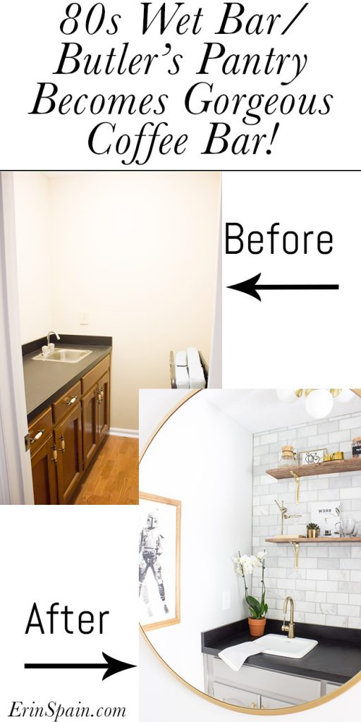 This coffee bar makeover is stunning! It used to be an 80s wet bar/butler's pantry and was made over for the One Room Challenge. The transformation is amazing!