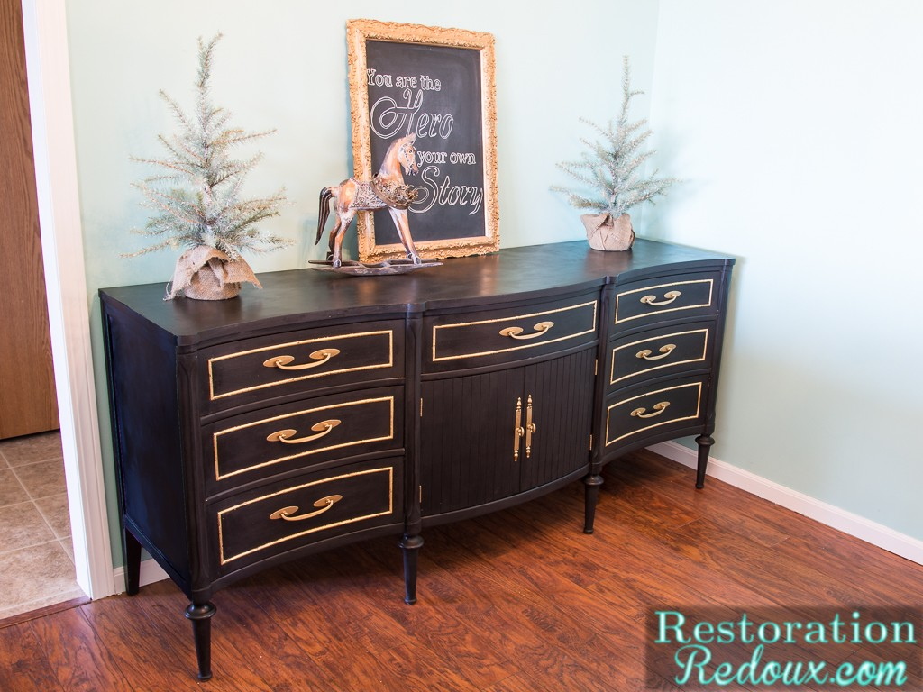 Black Vintage Dresser with Gold Leafing by Restoration Redoux, featured at #DIYLikeaBoss.