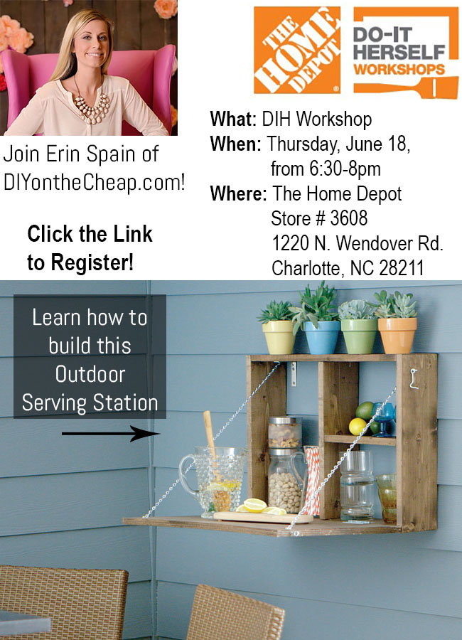 Register for the June #DIHWorkshop at The Home Depot and learn how to build an outdoor serving station! #ad
