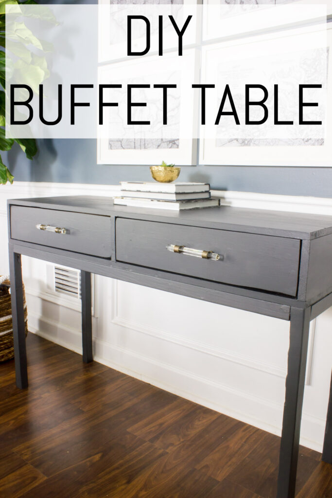 Learn how to build a DIY dining room buffet table (or console table) with this step by step tutorial!