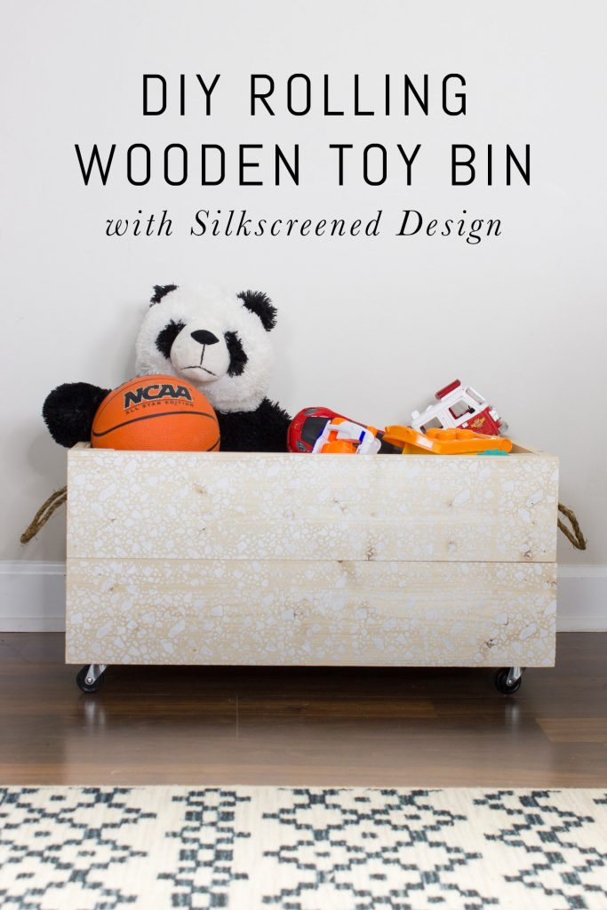 Learn how to make this DIY rolling wooden toy bin with a fun silkscreened design!