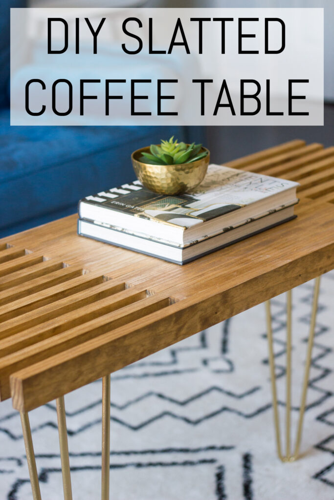 DIY slatted coffee table with hairpin legs.