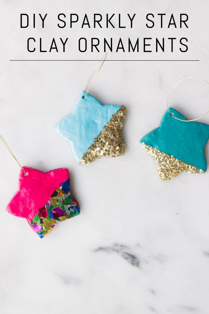 Learn how to make DIY sparkly star ornaments out of polymer clay!