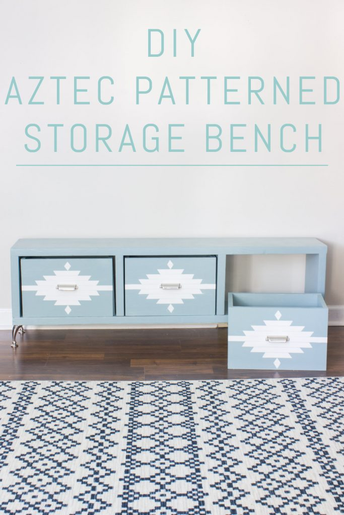 Build your own DIY Aztec patterned storage bench!