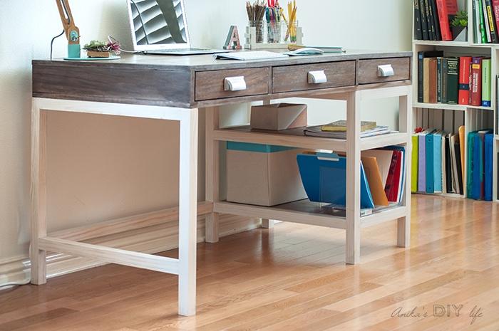 DIY modern farmhouse desk with storage