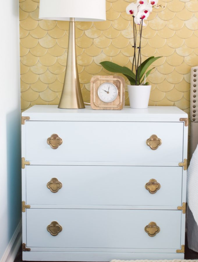 Powder Blue Nightstand Makeover