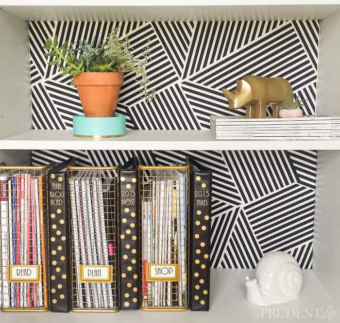 Fabric backed IKEA bookcase.