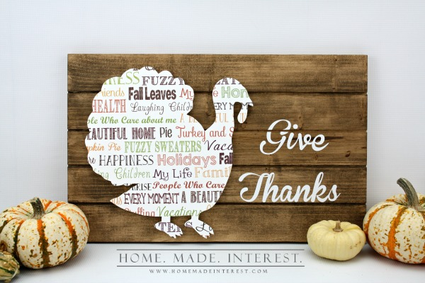 """Give Thanks"" Turkey Slat Sign"