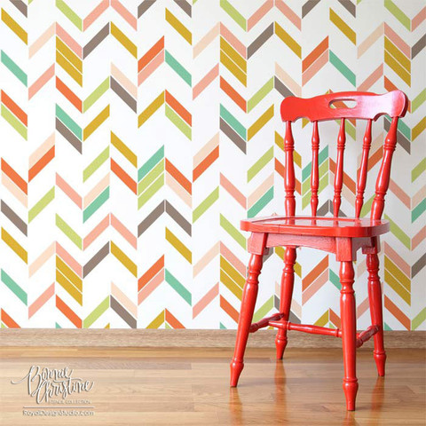Royal Design Studio Herringbone Shuffle wall stencil