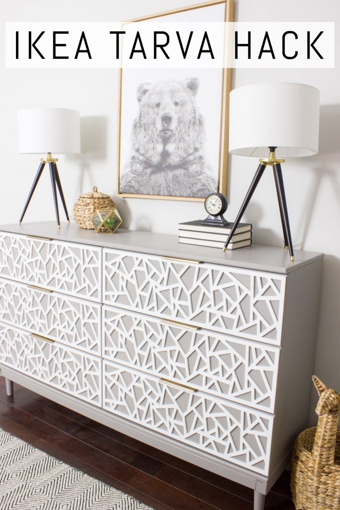 Check out this awesome IKEA TARVA hack! Loving the patterned drawer fronts and those modern handles.