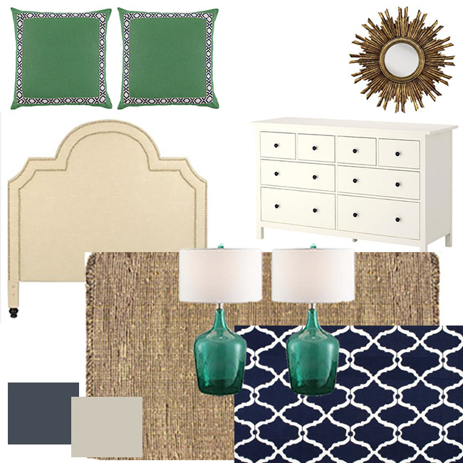 Navy and Green Master Bedroom Mood Board
