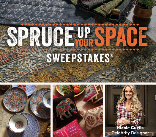 Check out the Spruce Up Your Space Sweepstakes going on at Cost Plus World Market! You could win a $5000 shopping spree and a design consultation with celebrity designer Nicole Curtis!