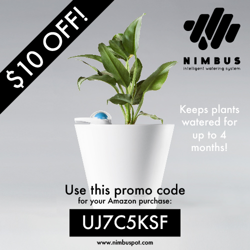 Promo code for $10 off a NIMBUS pot self-watering planter.