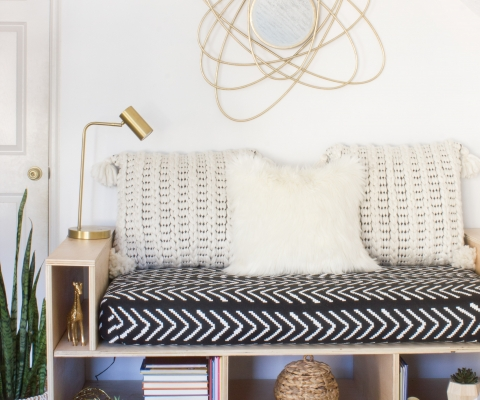 Diy Plywood Mini Daybed Upcycle An Old Crib Mattress Erin Spain