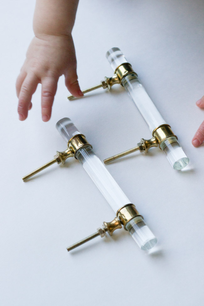 Brass and glass handles