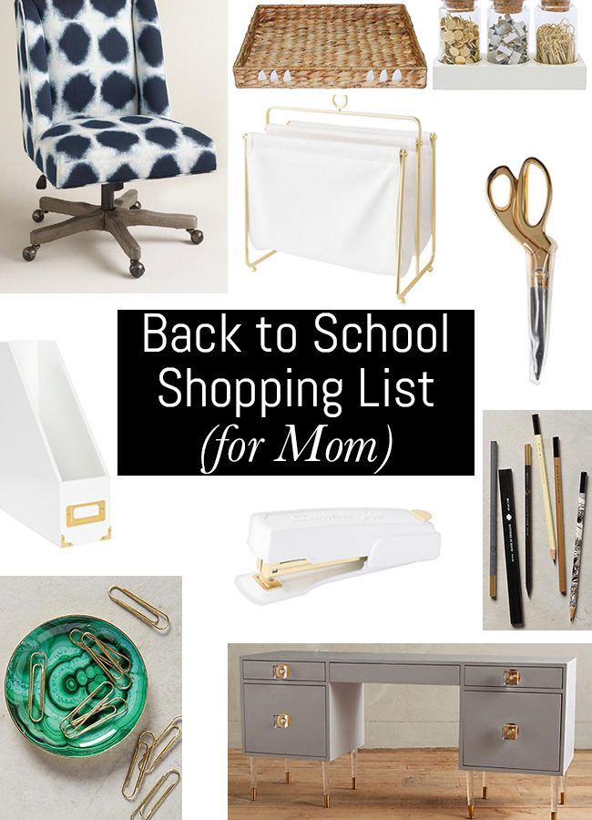 Back to School Shopping List (for Mom)
