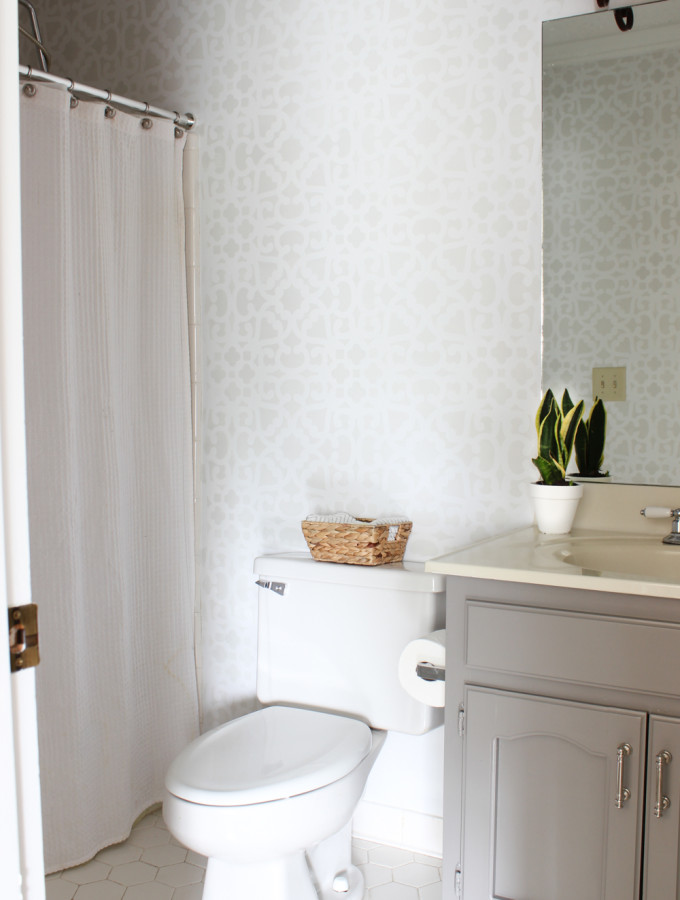 Bathroom Makeover: Stenciled Walls {Plus a Giveaway}