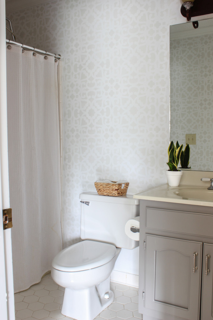 Bathroom makeover with stenciled walls.