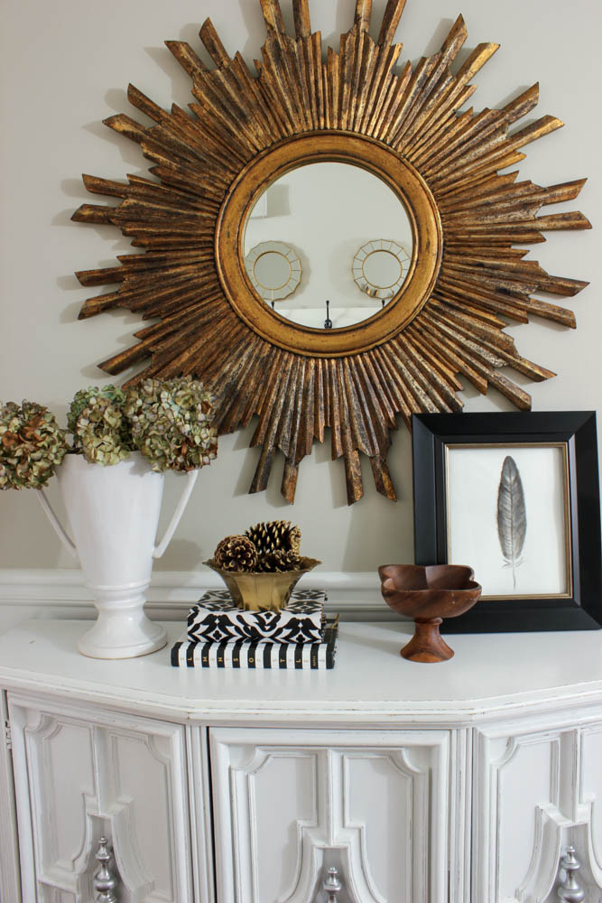 Black White & Gold Entryway Vignette