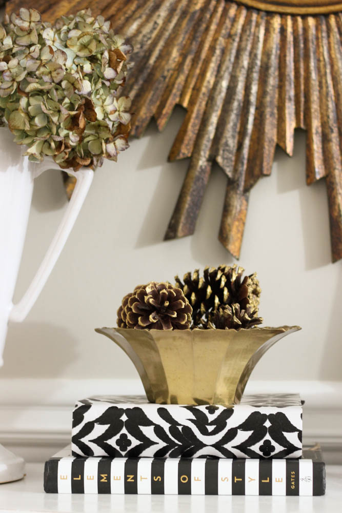 Black, white and gold entryway vignette.