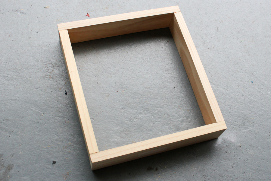 Simple Sand any rough edges and then form a box by positioning the side pieces inside the top and bottom pieces creating a rectangle and attach with wood glue