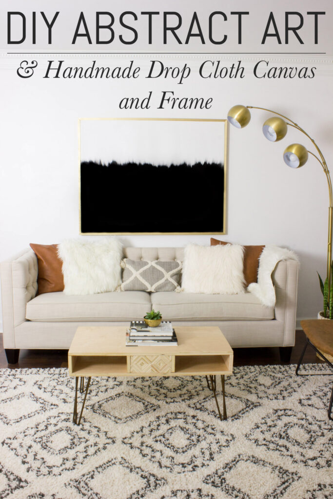 Learn how to make DIY abstract art with a handmade drop cloth canvas and frame!