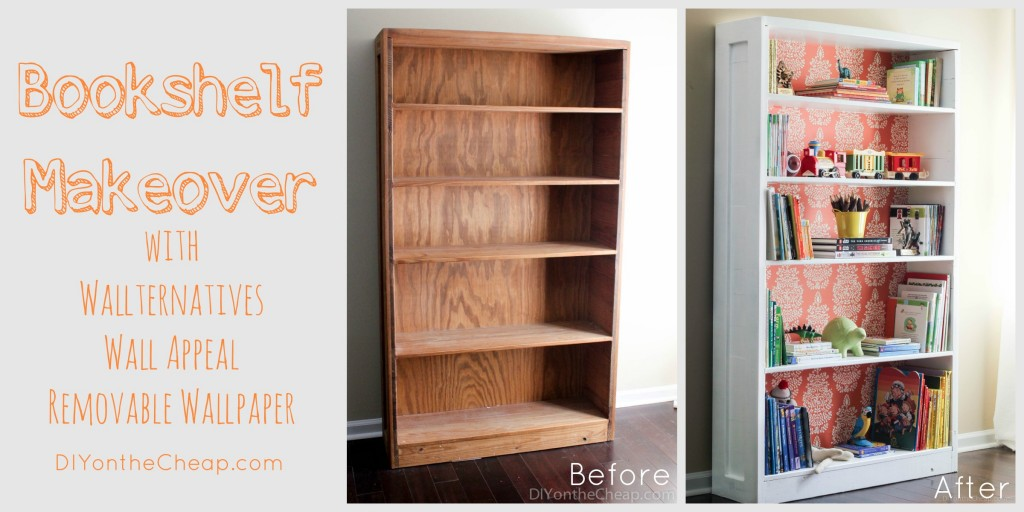Bookshelf Makeover with Wallternatives Wall Appeal removable wallpaper