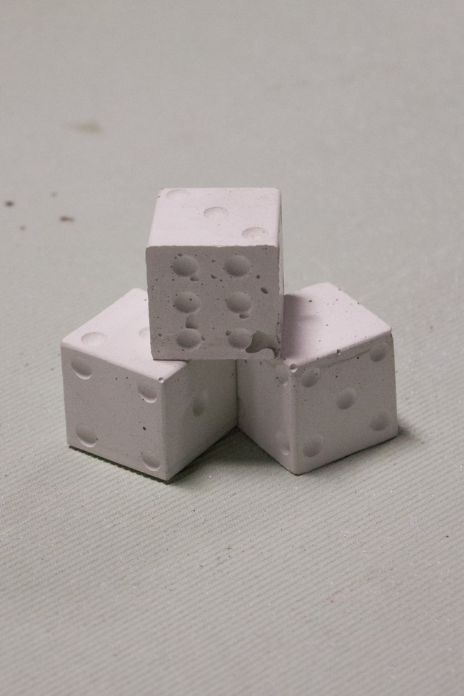 Concrete Dice (made using silicone ice molds).