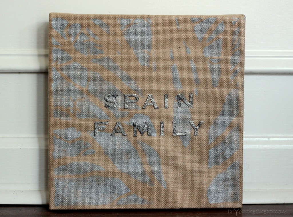 """Family"" Burlap Canvas Art"