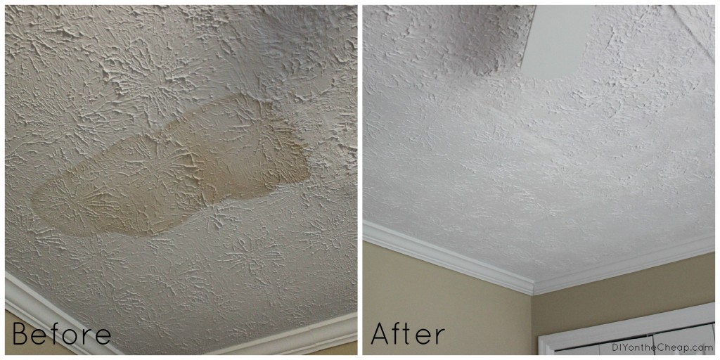 Ceiling Water Stain Before and After