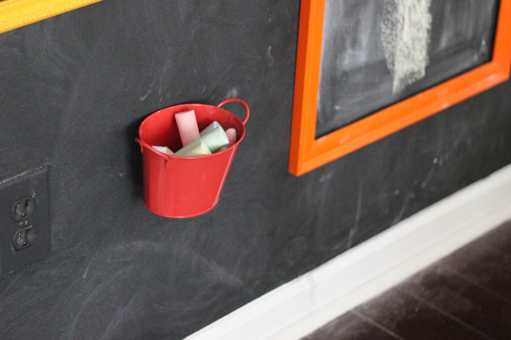 Chalk Bucket attached to chalkboard wall