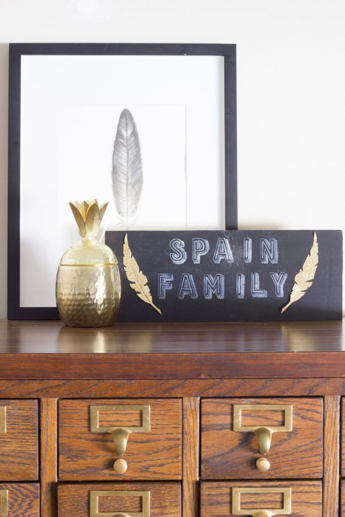 Learn how to make a DIY Chalkboard Family Sign using Lily & Val stencils and FolkArt Erasable Chalk!