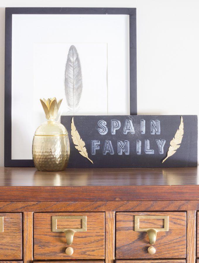 DIY Chalkboard Family Sign