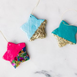 DIY Sparkly Star Clay Ornaments