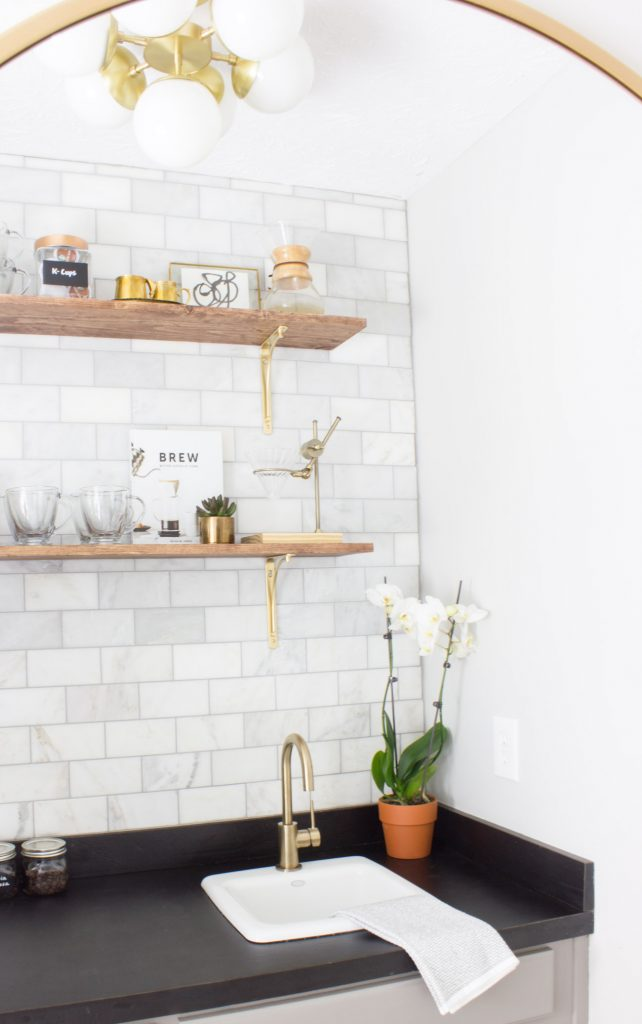 This coffee bar makeover is stunning! It was an 80s wet bar/butler's pantry made over for the One Room Challenge. You have to see the before & after!