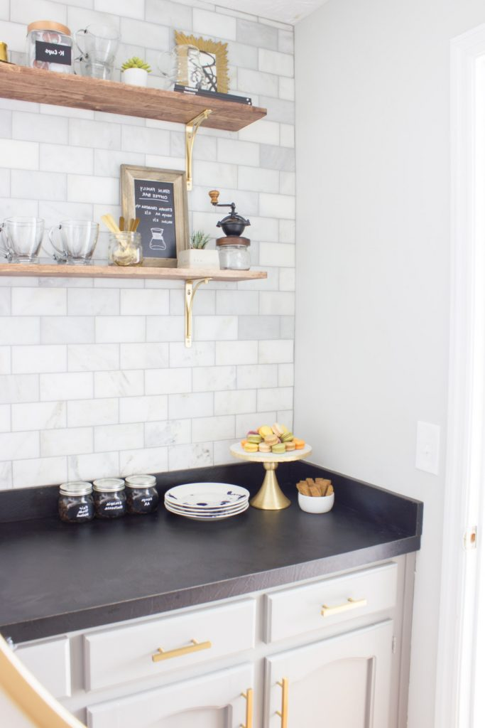 This is stunning! This 80s wet bar/butler's pantry was transformed into a gorgeous, modern coffee bar for the One Room Challenge. You HAVE to see the before and after! What a dramatic transformation!