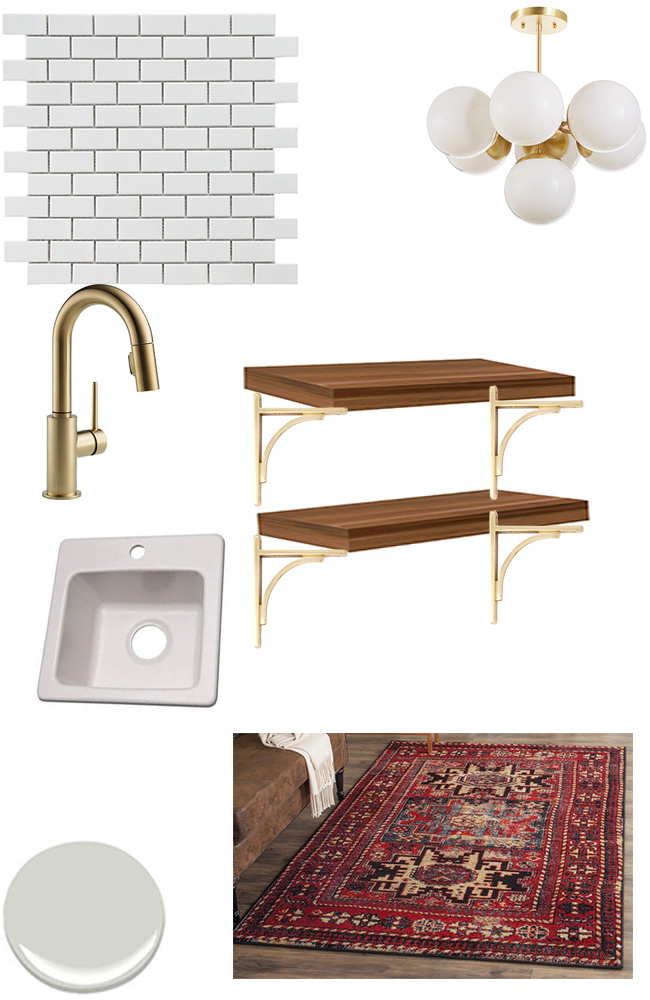 An 80s wet bar is going to be transformed into a modern coffee bar for the One Room Challenge. Here's the moodboard!
