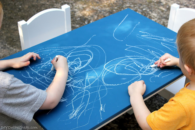 Add colored chalkboard paint to make over an IKEA kid's table!