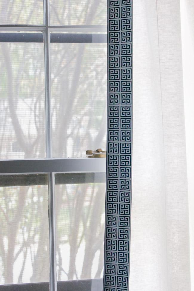 Curtains with navy Greek Key trim