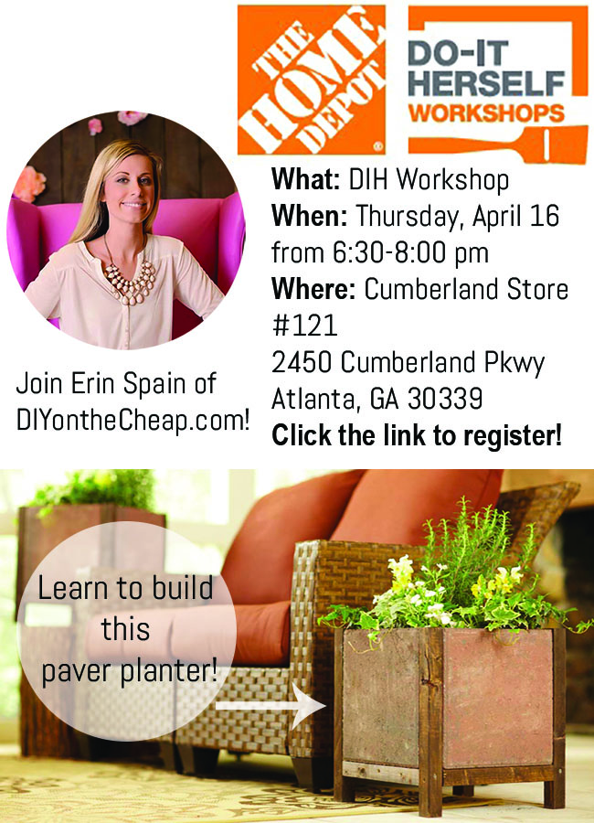 Register for The Home Depot DIH Workshop and learn how to make a paver planter! #DIHWorkshop