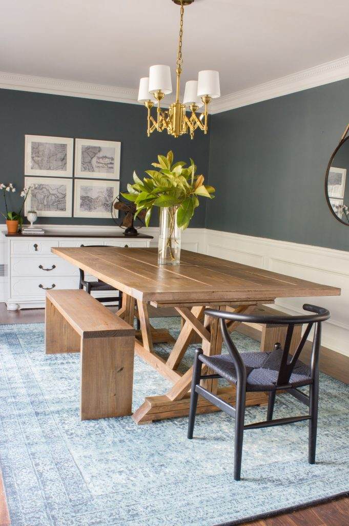 Loving this dining room refresh! It includes a DIY dining table and benches, plus Mid Century style Clark side chairs from Home Decorators Collection!