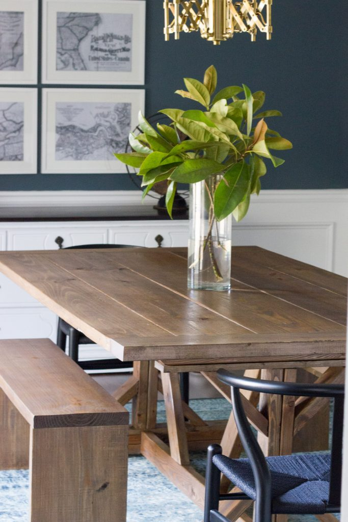 Simple I um in love with this DIY modern farmhouse dining table and benches Plus