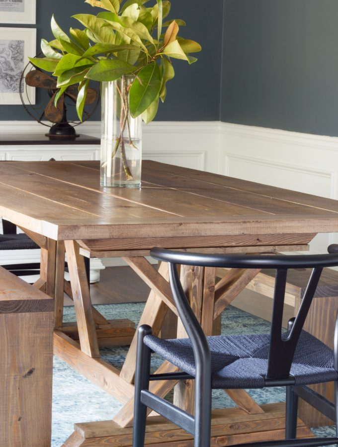 In love with this dining room refresh! The DIY table and benches are beautiful, and the Mid Century style chairs from Home Decorators Collection (Clark Side Chairs) are perfection!