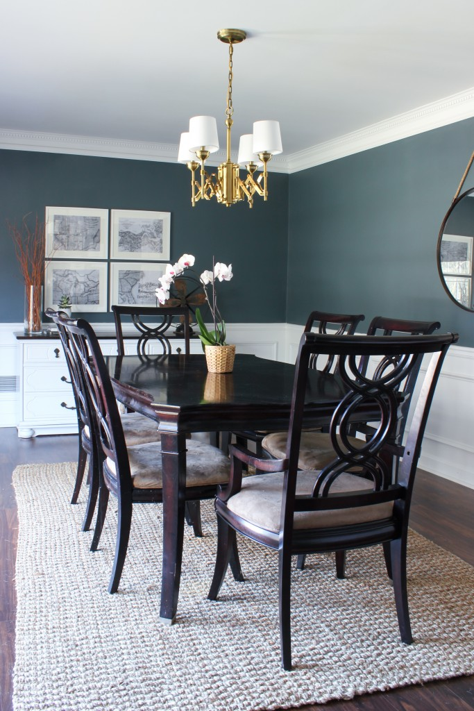 Dining Room Makeover with the Murray Feiss Brass Hugo Chandelier from Del Mar Fans.