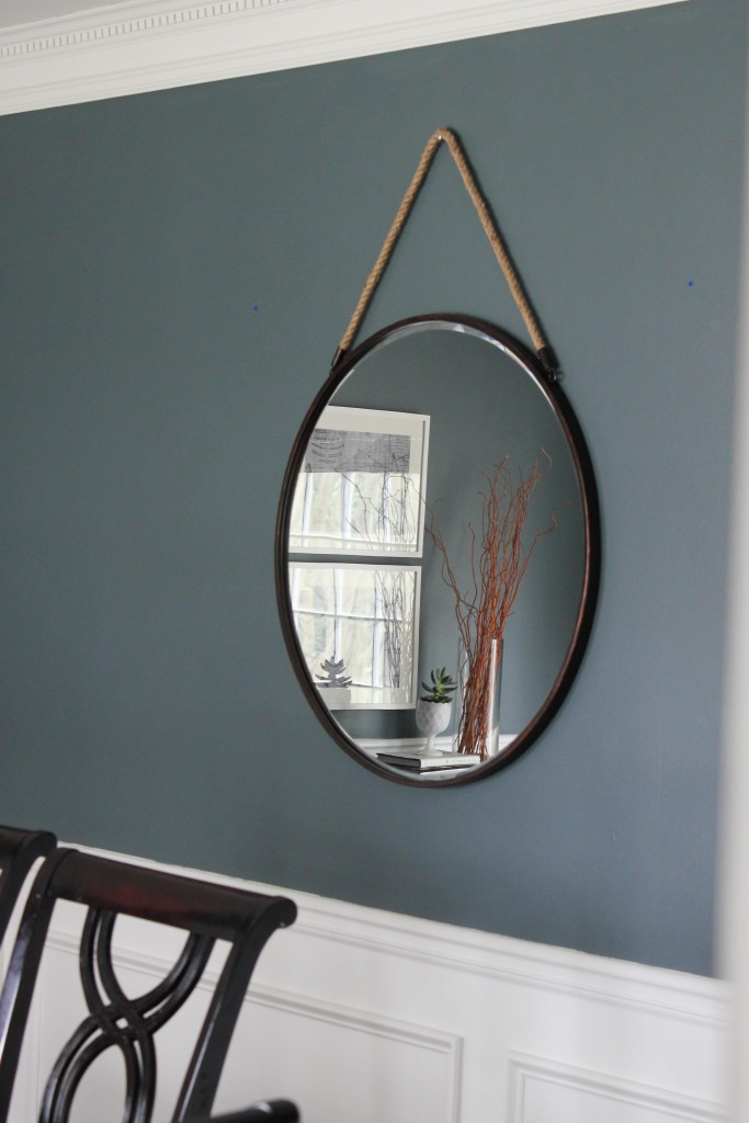 Spring Home Tour at DIY on the Cheap: Bronze Metal Round Mirror from Kirkland's