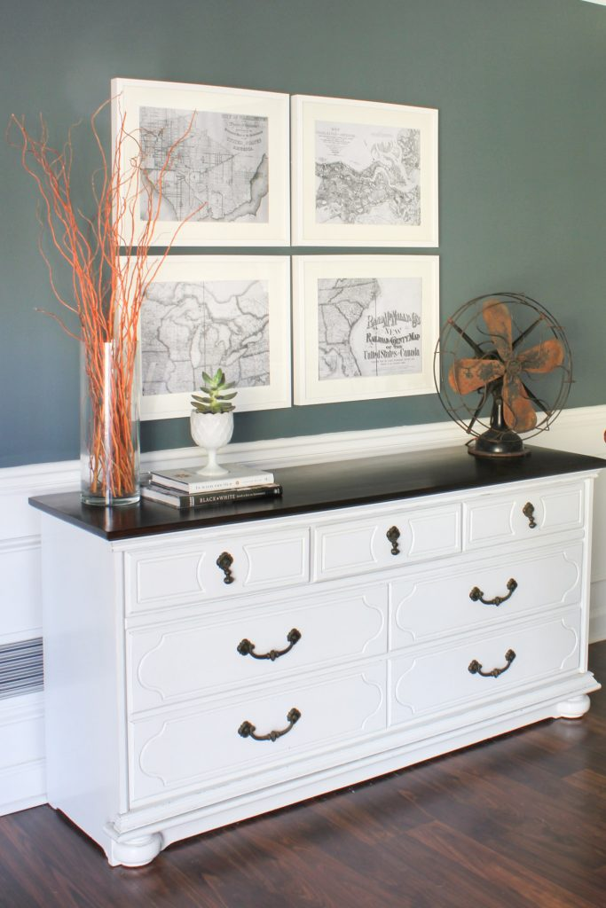 This thrifted dresser was given a makeover and is now used as a dining room sideboard. You HAVE to see the before! Wow!