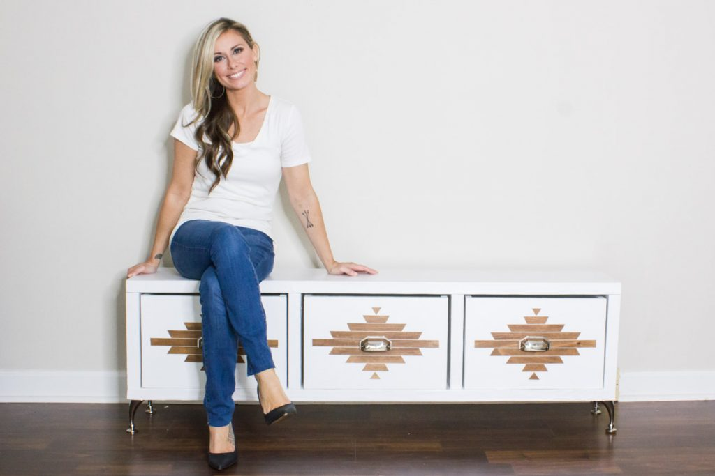 Learn how to build this DIY storage bench with an Aztec inspired design!