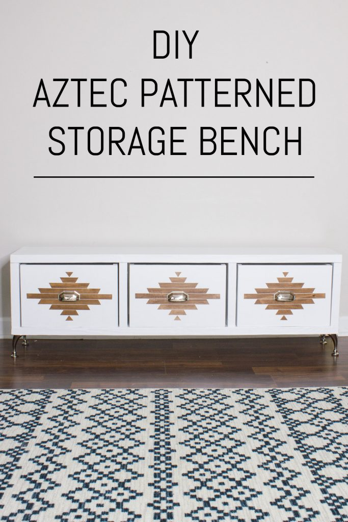 Learn how to build this Aztec patterned DIY storage bench!