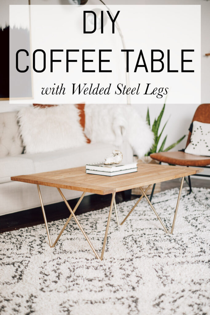 DIY coffee table with welded steel legs.